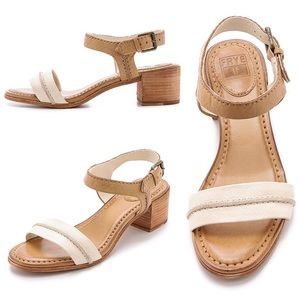 •Frye• Leah Seam 2 Piece City Sandals Block Heel